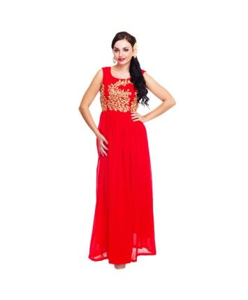 Cherry Red Zari Embroidered Georgette Gown #ohnineone