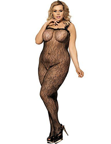 Crotchless Bodystocking Plus Size Crotch Fishnet Lingerie for Women