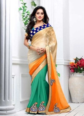 Deepika Singh Orange And Turquoise Shaded Jacquard Georgette Half N Half Saree