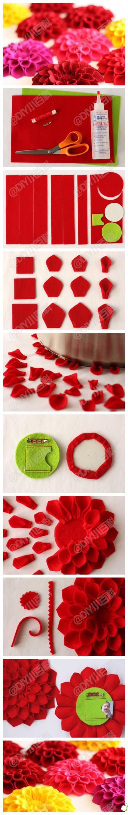 dahlia felt flower for brooches, hair clips, clothing or purse embellishment, necklace, package decorations, etc