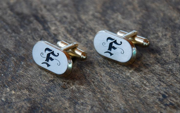 Vintage Hickok Cuff Links Initial F Oval Made in USA Mid Century Mad Men 1960's Men's Suit and Tie Accessories // Vintage Costume Jewelry by BeckoningBeefyGems on Etsy