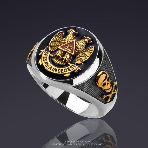 Masonic Ring AASR 32 Degree Master Freemason 925 Silver 24K