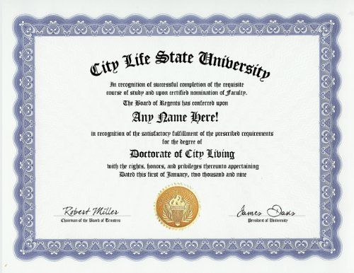 City Life City Living Degree: Custom Gag Diploma Doctorate Certificate (Funny Customized Joke Gift - Novelty Item) by GD Novelty Items. $13.99. One customized novelty certificate (8.5 x 11 inch) printed on premium certificate paper with official border. Includes embossed Gold Seal on certificate. Custom produced with your own personalized information: Any name and any date you choose.