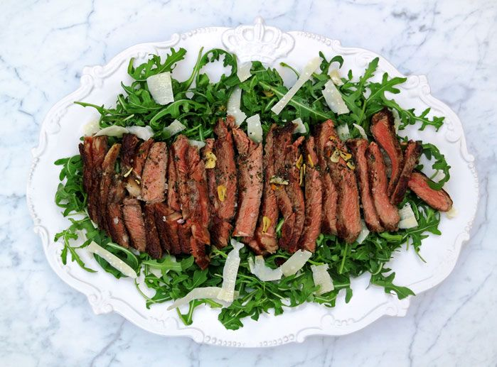 Tagliata di manzo is a famous main course in Siena, it consists of steak with a peppery arugula salad.
