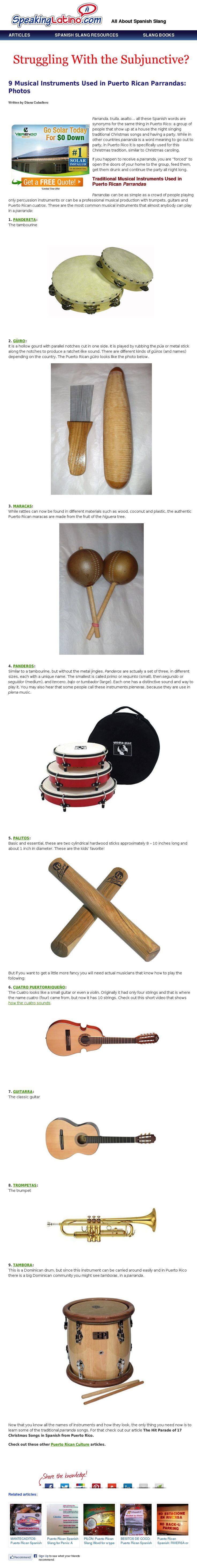 9 Musical Instruments Used in Puerto Rican Parrandas | Lista de instrumentos musicales usados en Puerto Rico #PuertoRico #Christmas #Navidad via http://www.speakinglatino.com/musical-instruments-used-puerto-rican-parrandas/