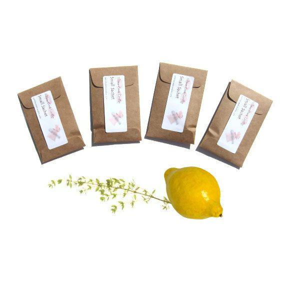 4 Lemon Verbena Lift Sachets Drawer Freshener Cheerful Herb Kitchen Decor Yellow Brown Green Farmhouse Culinary Scent Vegan Small. $12.00, via Etsy.