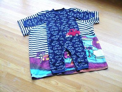 Romper/Sleeper Tutorial -- made from an adult t-shirt -- using a zipper instead of snaps. Interesting technique!