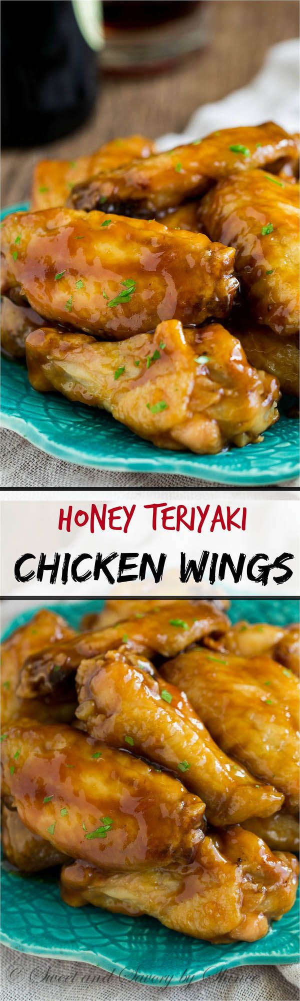 Smeared with sweet & salty homemade honey teriyaki sauce, these crispy baked chicken wings are undeniably one of the best (yet messiest) game-day foods!