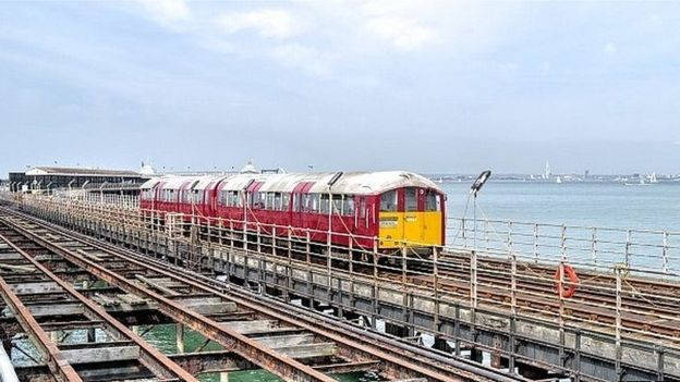 Former London Underground trains working on the Isle of Wight.