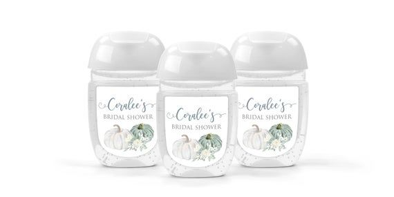 Sanitizer Favor Labels White Pumpkin Bridal Shower Wedding Favor