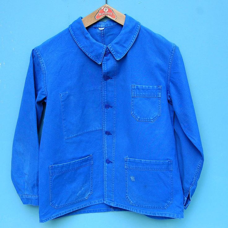 Unisex Chore Overalls, Long Sleeve Blue Cotton Work Wear, French Vintage