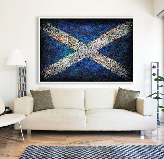 Scottish Distressed Flag Hand-Painted Flag of by ArtForLoft