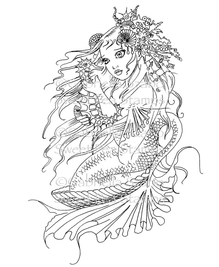 501 Best Mermaid Coloring Sheets Images On Pinterest