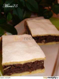 Jablečné dvoubarevné řezy TĚSTO: 270 g Hladká mouka 1/2 prášku do pečiva 220 g tuku (Hera,Visa,..) 3 lžíce vody studené 1 žloutek 1 vanilkový cukr 1 lžíce rumu  NÁPLŇ: 6 Jablek 3 vejce + bílek 150 g cukru 1 vanilkový cukr 2 lžíce kakao holandské 150 g ořechy mleté nebo jen 2 lžíce plátky mandlí 2 lžíce,či 1 lžíce podrcené piškoty