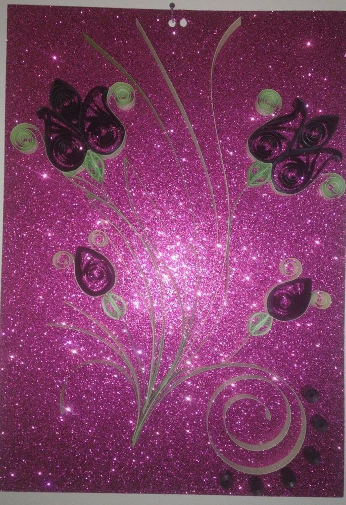 Quilled paper art handmade DIY wall decore with flowers