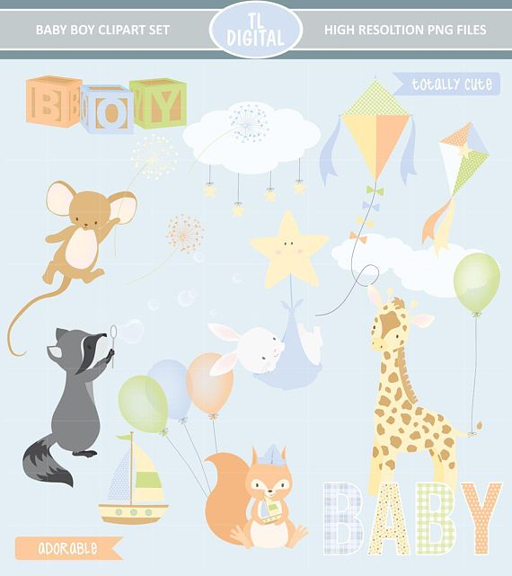 Baby Boy Clipart Set  High resolution PNG Files  25 clipart