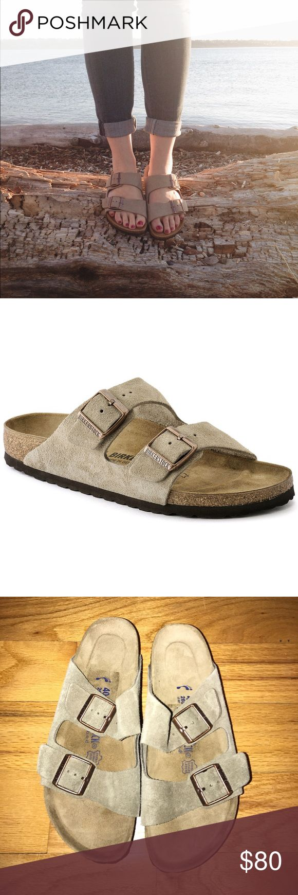 Taupe Birkenstock Arizona Soft Footbed Sandals The often imitated, never duplicated, category-defining, two-strap wonder from Birkenstock. A comfort legend and a fashion staple. With adjustable straps and a magical cork footbed that conforms to the shape of your foot, a truly custom fit is as effortless as the classic design.   Suede – a soft and flexible leather with light surface nap Contoured cork footbed conforms to the shape of your foot and features pronounced arch support, a deep heel…