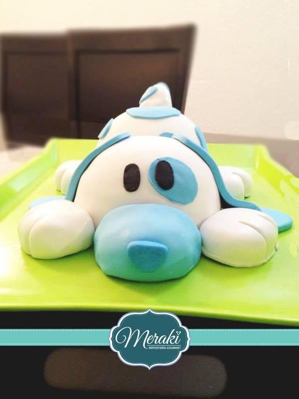 Pastel de fondant con forma de perro #pastel #perro #fondant #dog #blue https://www.facebook.com/meraki.reposteria