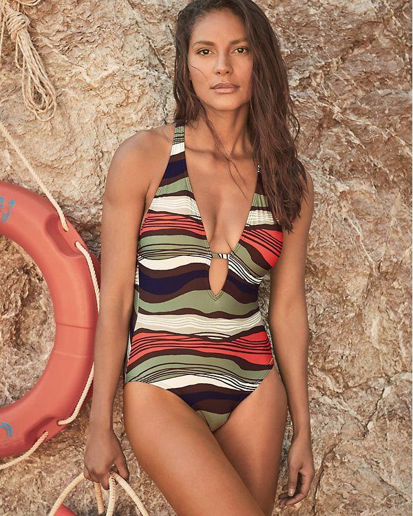 d9ef821fe5c5a Vince Camuto Tidal Stripe One-Piece Swimsuit   Garnet Hill Swimsuits,  Bikinis, Women's