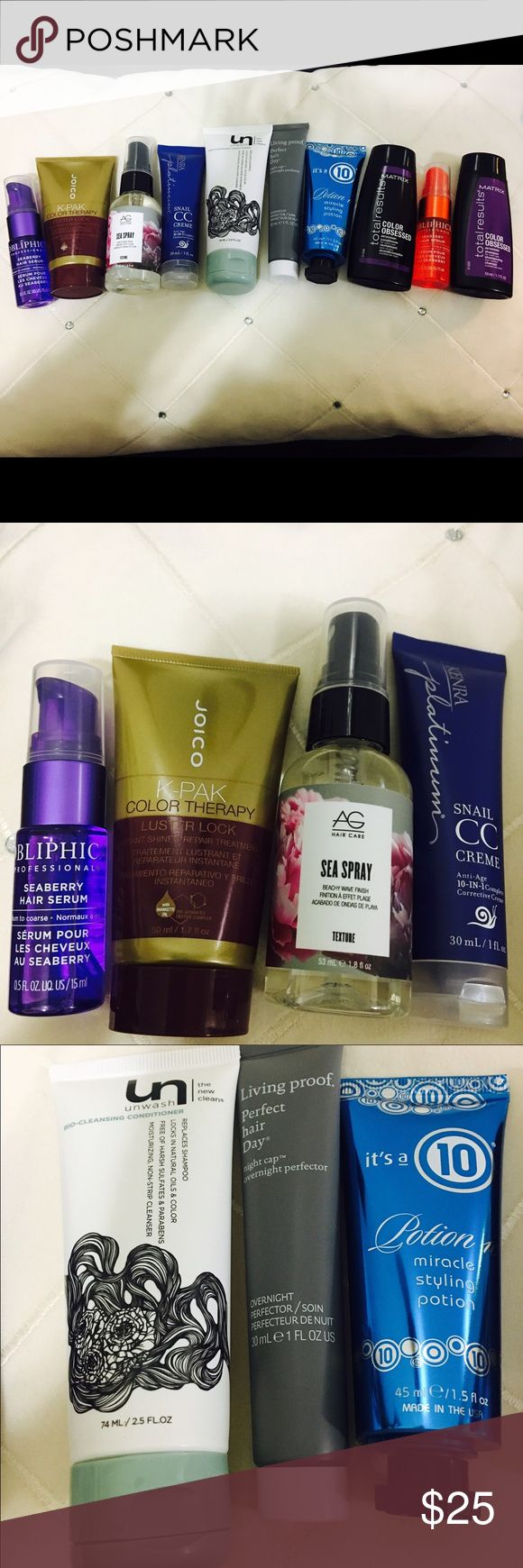 The ultimate hair care bundle! 2 Obliphica Professionals Seaberry Hair Serum.5 Fl. Oz., Matrix total results Color Obsessed Antioxidant shampoo and conditioner 1.7 Fl. Oz. (One of each), 1 it's a 10 Potion 10 miracle styling potion 1.5 Fl. Oz., 1 Living proof perfect hair day night cap 1 Fl. Oz., 1 AG hair care texture sea spray 1.8 Fl. Oz., Joico K-Pak color therapy luster lock. 1.7 Fl. Oz., 1 Kenra platinum CC cream 1 Fl. Oz., 1 UN Bio-cleansing conditioner 2.5 Fl. Oz. NEW…