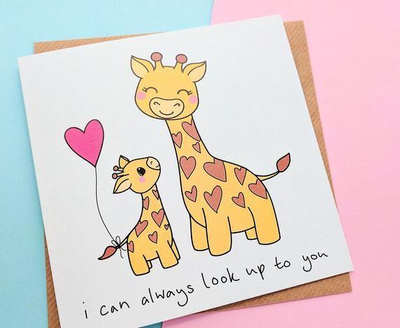 Mum Birthday Card Mum Cards Cute Giraffes Cute Mum Card Etsy Birthday Cards For Mum Grandma Birthday Card Birthday Cards For Mom