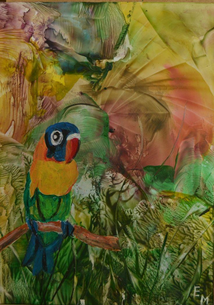 Papoušek+v+pralese+Obraz+o+velikosti+A4+malovaný+kombinovanou+technikou+-+enkaustika+a+akryl.+Horký+barevný+vosk+vytváří+na+obraze+speciální+fantastické+efekty+a+zvláštní+krajiny.+Papoušek+je+domalován+akrylem.