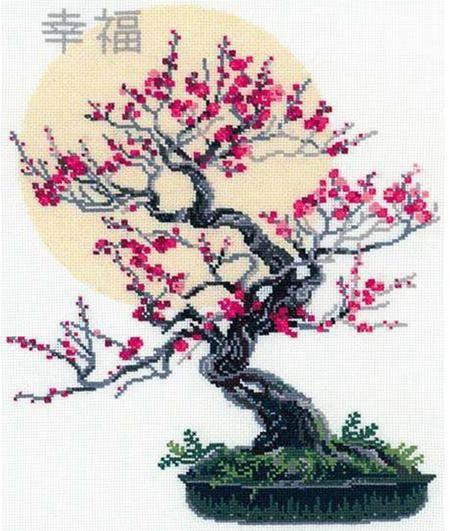 Bonsai Of Sakura Wish Well - Cross Stitch Kit