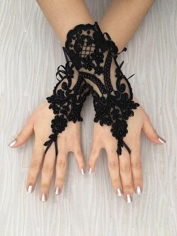 """New Lace Gloves 9/"""" Fingerless Black"""