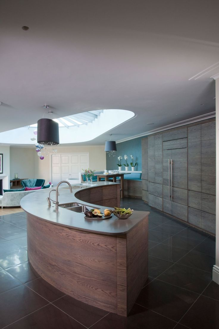 2913 best kitchen images on pinterest modern kitchens kitchen clever semi circular island delineates the kitchen area while keeping the space open and sociable
