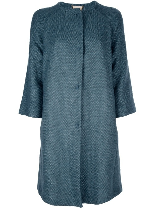 Green tweed coat from Semi Couture featuring a round neck, a central front button fastening, two side pockets, three-quarter length sleeves, and a pleated section from the rear waist down.