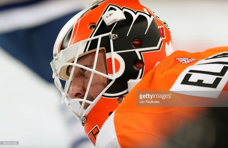 Brian Elliott #37 of the Philadelphia Flyers looks on during warm-ups prior to his game against the Toronto Maple Leafs on December 12, 2017 at the Wells Fargo Center in Philadelphia, Pennsylvania.