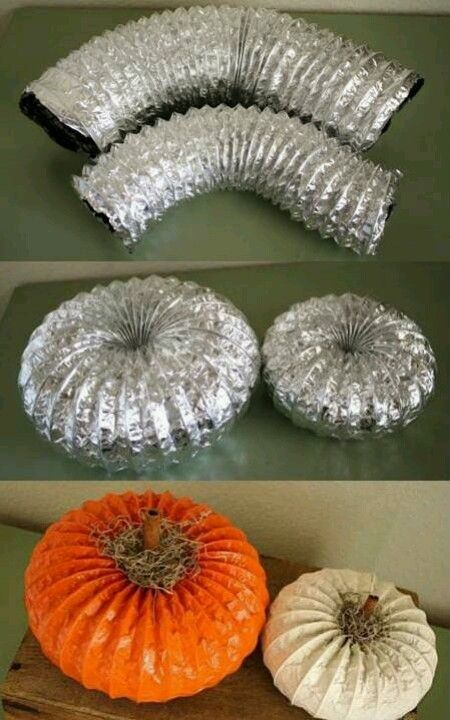 Fall pumpkin craft- made from dryer vent hose and paint- Looks like something from Pottery Barn.. but at a fraction of the price! Love IT