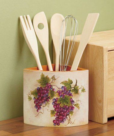 6 piece corner utensil holder and wooden spoon set for Kitchen decoration piece
