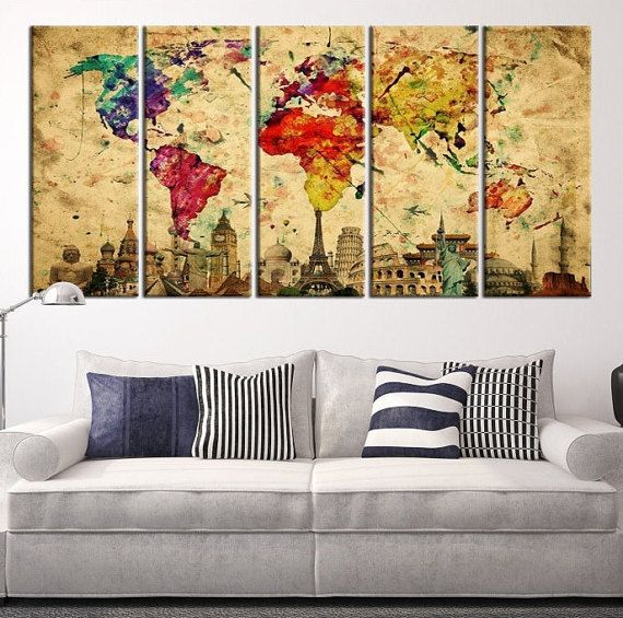 14 best office decor images on pinterest world maps world map colorful world map with wonders of the world belowlarge wall gumiabroncs Image collections