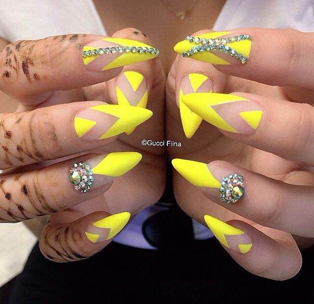 Yellow Negative Space with Crystal Base - 25+ Trending Yellow Nails Design Ideas On Pinterest Yellow Nail