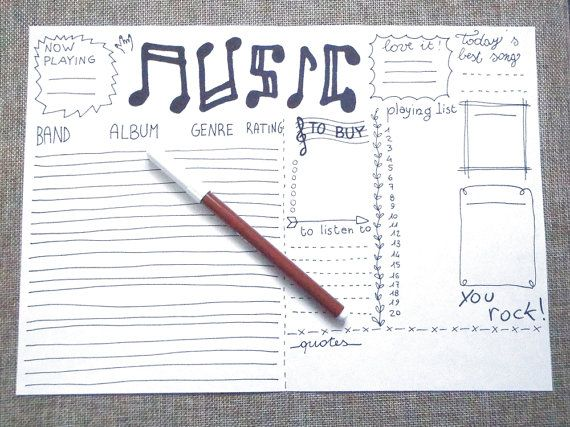 music journal printable planner stationery di LaSoffittaDiSte