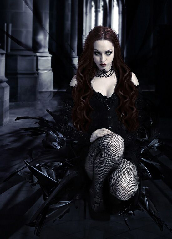#Goth girl and red hair