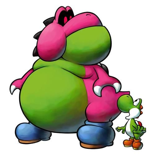 Yoshi and his rather obese friend Yoob from the official artwork set for #Mario and #Luigi: Partners in Time on the #NintendoDS. #MarioBros. Visit for more info http://www.superluigibros.com/mario-and-luigi-partners-in-time
