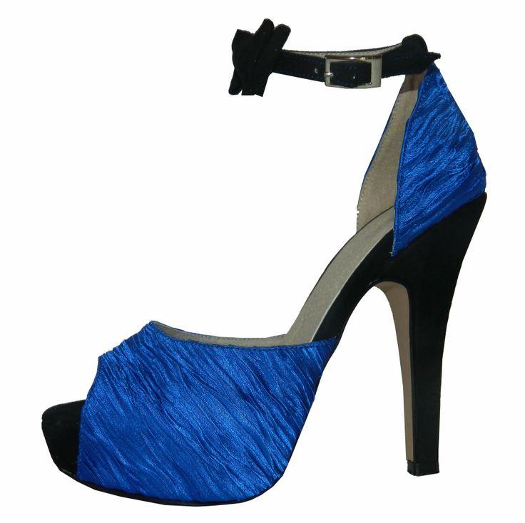 Modelo Alvia en Saten plisado combinado con cabritilla negra - MarF Zapatos
