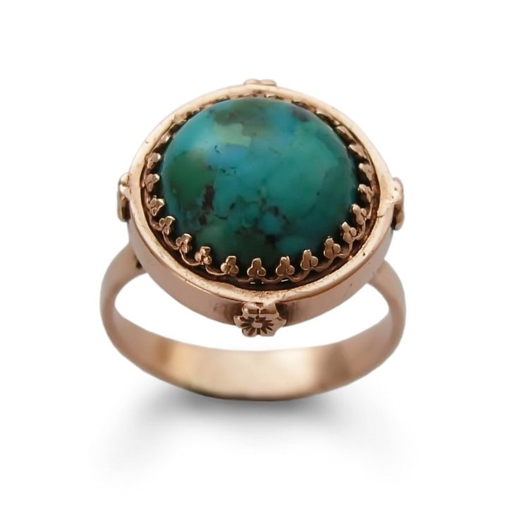 Large 14k Rose gold ring, Turquoise birthstone ring, Round Gold ring, Vintage style Crown Victorian Jewelry, Handmade Engagement ring, Sale by artisaneffect on Etsy https://www.etsy.com/listing/234090300/large-14k-rose-gold-ring-turquoise