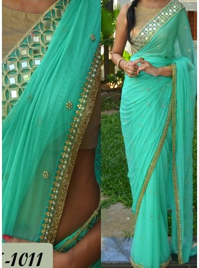 Designer Sky Blue Colour Pearl & Mirror Work Party Wear Saree-PN-1011