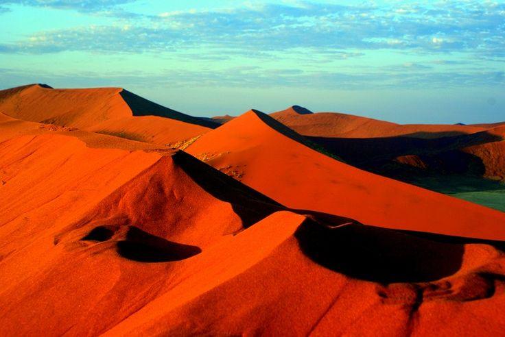Organce Shadows & blue skies.  Namib National Park #Namibia #Africa