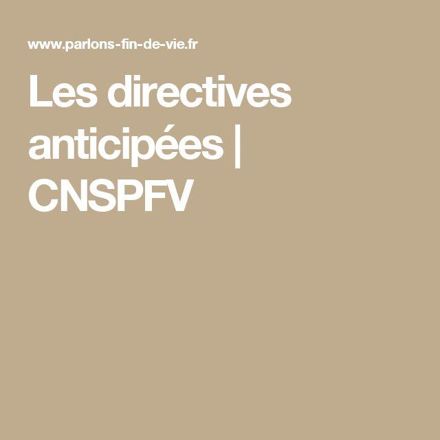 Les directives anticipées  | CNSPFV
