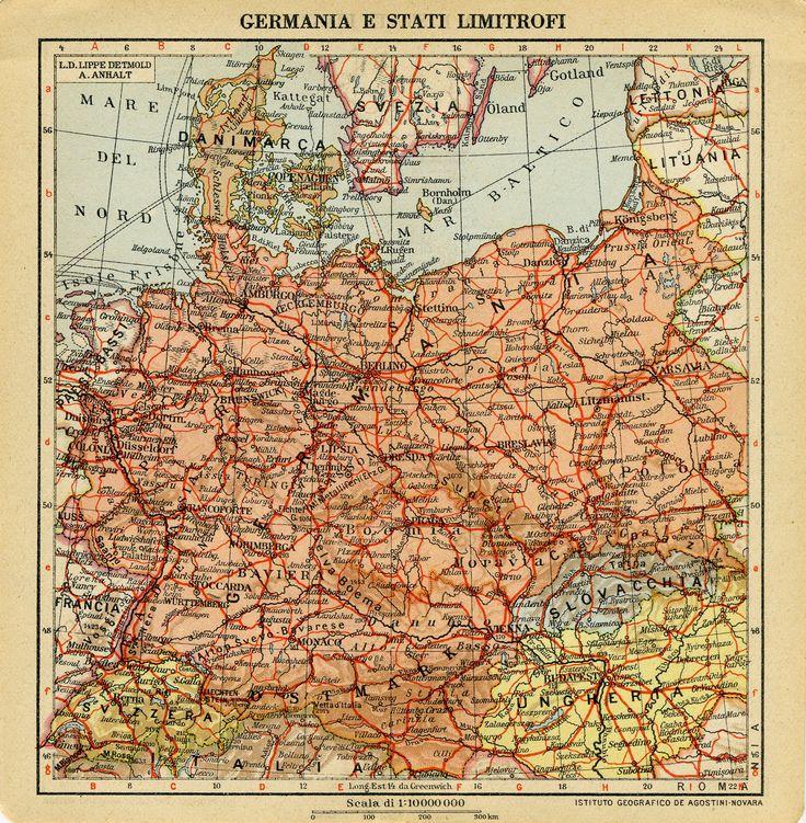La gran Alemania enel mapa publicado en el Calendario Atlante de Agostini de 1942. Muestra la incorporación de Austria, gran parte de Checoeslovaquia y la mitad de Polonia, pero no de Alsacia y L…