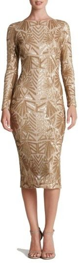 Dress The Population Emery Midi Dress -Densely sewn sequins paint mesmerizing Art Deco–inspired patterns around this body-hugging dress cut with a high neckline and long sleeves to counter the revealing back. #ad #dress #women #sequins #newyears #wedding #freeshipping #myredshoestories