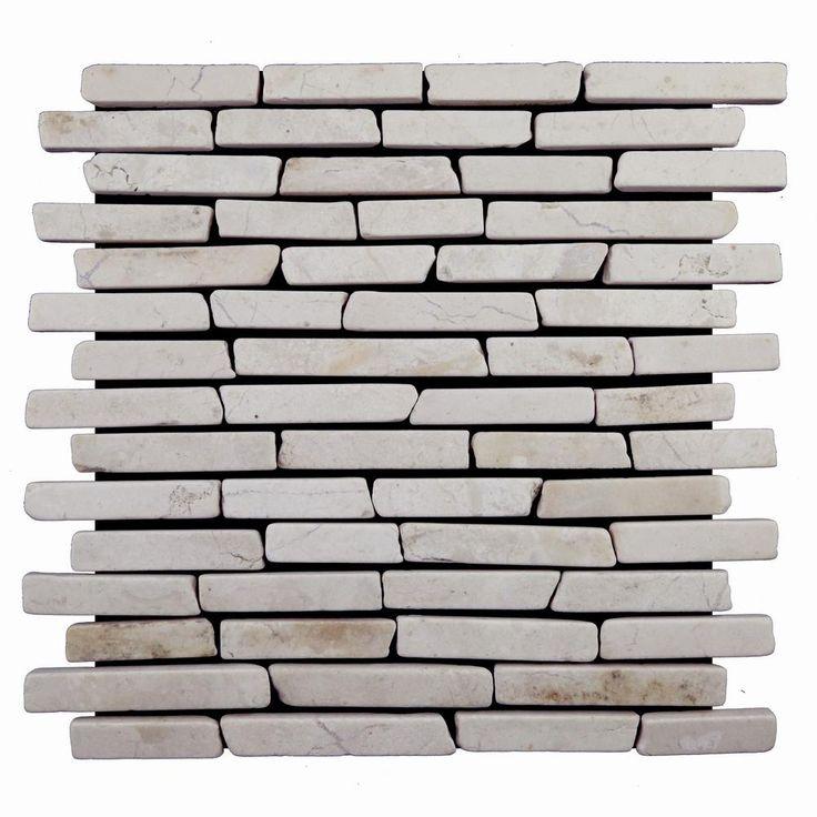 Cruz Bay Sticks Tile White 113/4 in. x 113/4 in. x 9.5