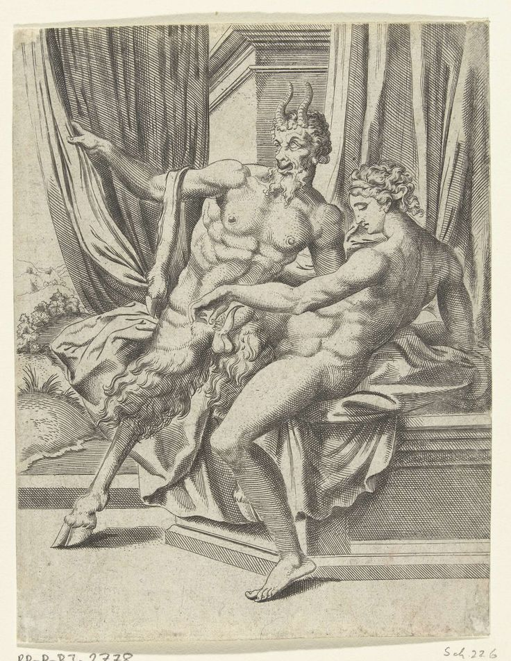 Cornelis Bos | Jupiter en Antiope, Cornelis Bos, Michiel Coxie (I), c. 1537 - c. 1555 | Jupiter, in de gedaante van een sater, verkracht de nimf Antiope. Antiope slaapt, ze heeft haar ogen gesloten. Jupiter trekt een gordijn opzij en komt haar slaapkamer binnen. Prent uit een serie van 10 prenten die het liefdesleven van Jupiter illustreren.
