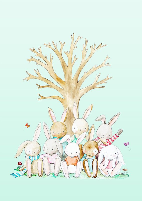 Woodland Bunnies Thumbprint Tree Art Print by PoppyandScout, $18.00