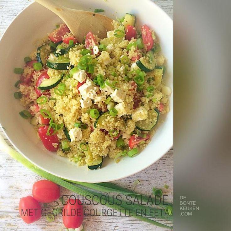 Foto: Couscous salade met gegrilde courgette en feta.. TIP: Heerlijk als avondeten met een stukje kip en een pitabroodje! (couscous, groente bouillon, Cherry tomaatjes, courgette, feta kaas, lente ui/ bosui, makkelijk, simpel, avondeten, diner, zomer, groente, bijgerecht, bbq). Geplaatst door annemieke1985 op Welke.nl