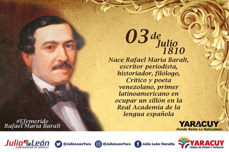 #Efemerides #3Jul 1810 Nace Rafael María Baralt: Autor del 1er diccionario de galicismos del español y 1er latinoamericano en la #RAE #Venezuela #Yaracuy Donde reina la Naturaleza